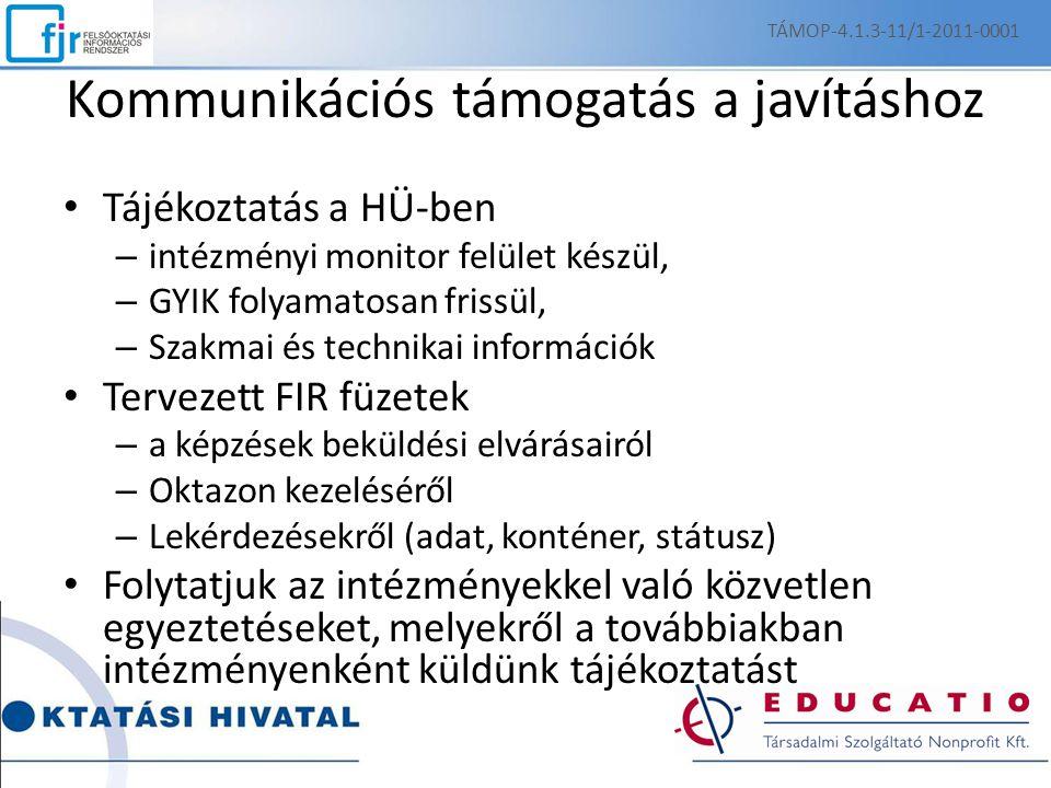 Kommunikációs támogatás a javításhoz Tájékoztatás a HÜ-ben – intézményi monitor felület készül, – GYIK folyamatosan frissül, – Szakmai és technikai in