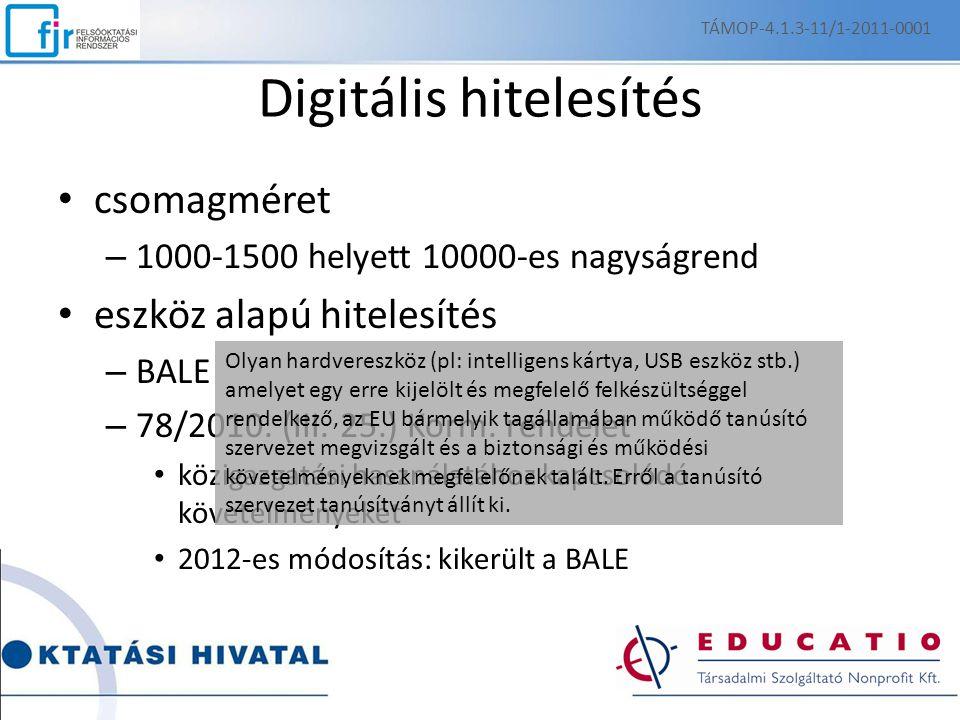 TÁMOP-4.1.3-11/1-2011-0001 Digitális hitelesítés csomagméret – 1000-1500 helyett 10000-es nagyságrend eszköz alapú hitelesítés – BALE – 78/2010.