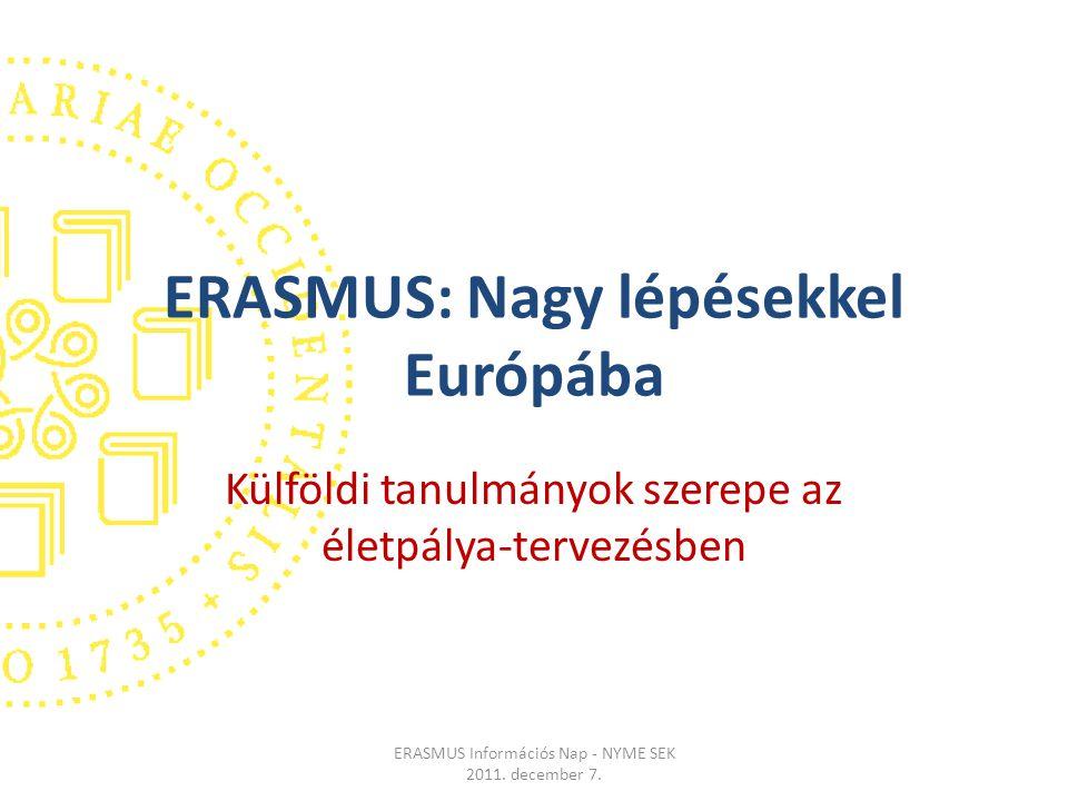 ERASMUS: Nagy lépésekkel Európába Külföldi tanulmányok szerepe az életpálya-tervezésben ERASMUS Információs Nap - NYME SEK 2011.