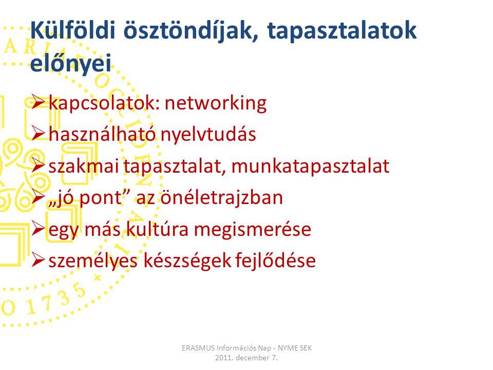 """Külföldi ösztöndíjak, tapasztalatok előnyei  kapcsolatok: networking  használható nyelvtudás  szakmai tapasztalat, munkatapasztalat  """"jó pont az önéletrajzban  egy más kultúra megismerése  személyes készségek fejlődése ERASMUS Információs Nap - NYME SEK 2011."""