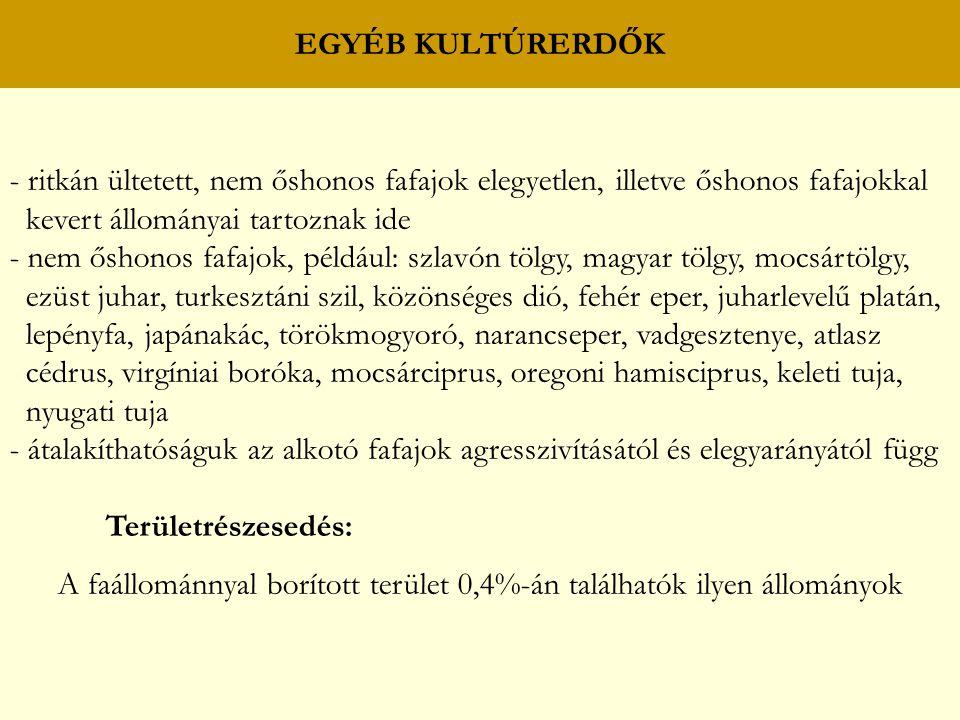 - ritkán ültetett, nem őshonos fafajok elegyetlen, illetve őshonos fafajokkal kevert állományai tartoznak ide - nem őshonos fafajok, például: szlavón