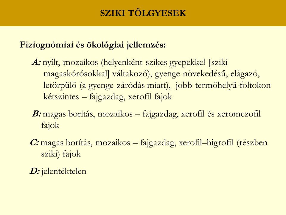 SZIKI TÖLGYESEK Fiziognómiai és ökológiai jellemzés: A: nyílt, mozaikos (helyenként szikes gyepekkel [sziki magaskórósokkal] váltakozó), gyenge növekedésű, elágazó, letörpülő (a gyenge záródás miatt), jobb termőhelyű foltokon kétszintes – fajgazdag, xerofil fajok B: magas borítás, mozaikos – fajgazdag, xerofil és xeromezofil fajok C: magas borítás, mozaikos – fajgazdag, xerofil–higrofil (részben sziki) fajok D: jelentéktelen