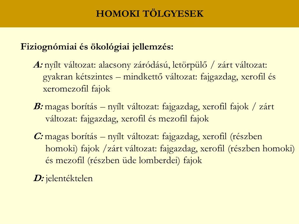 HOMOKI TÖLGYESEK Fiziognómiai és ökológiai jellemzés: A: nyílt változat: alacsony záródású, letörpülő / zárt változat: gyakran kétszintes – mindkettő változat: fajgazdag, xerofil és xeromezofil fajok B: magas borítás – nyílt változat: fajgazdag, xerofil fajok / zárt változat: fajgazdag, xerofil és mezofil fajok C: magas borítás – nyílt változat: fajgazdag, xerofil (részben homoki) fajok /zárt változat: fajgazdag, xerofil (részben homoki) és mezofil (részben üde lomberdei) fajok D: jelentéktelen