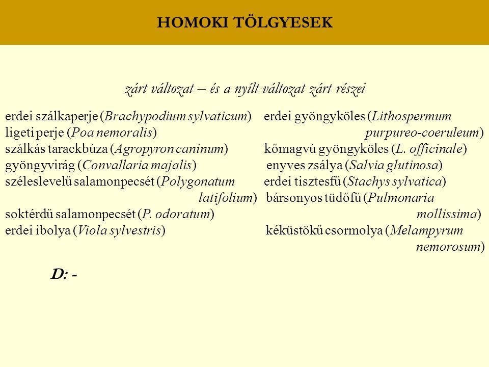 HOMOKI TÖLGYESEK zárt változat – és a nyílt változat zárt részei erdei szálkaperje (Brachypodium sylvaticum) erdei gyöngyköles (Lithospermum ligeti pe