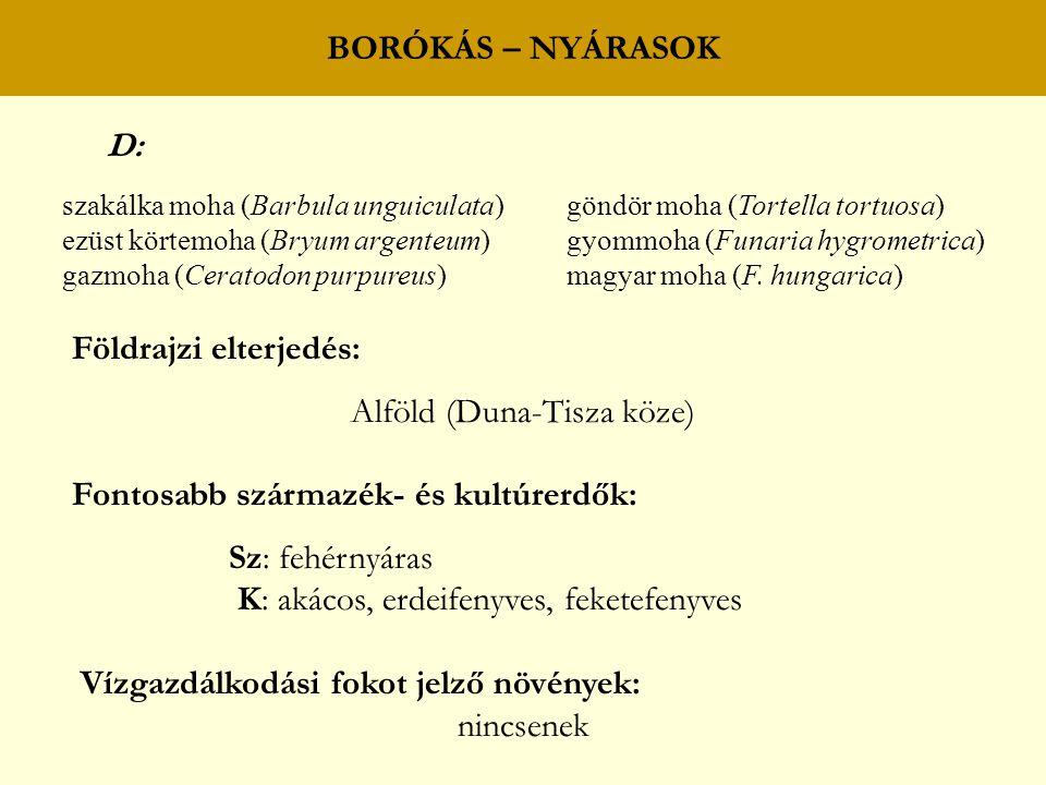 BORÓKÁS – NYÁRASOK D: szakálka moha (Barbula unguiculata) göndör moha (Tortella tortuosa) ezüst körtemoha (Bryum argenteum) gyommoha (Funaria hygrometrica) gazmoha (Ceratodon purpureus) magyar moha (F.