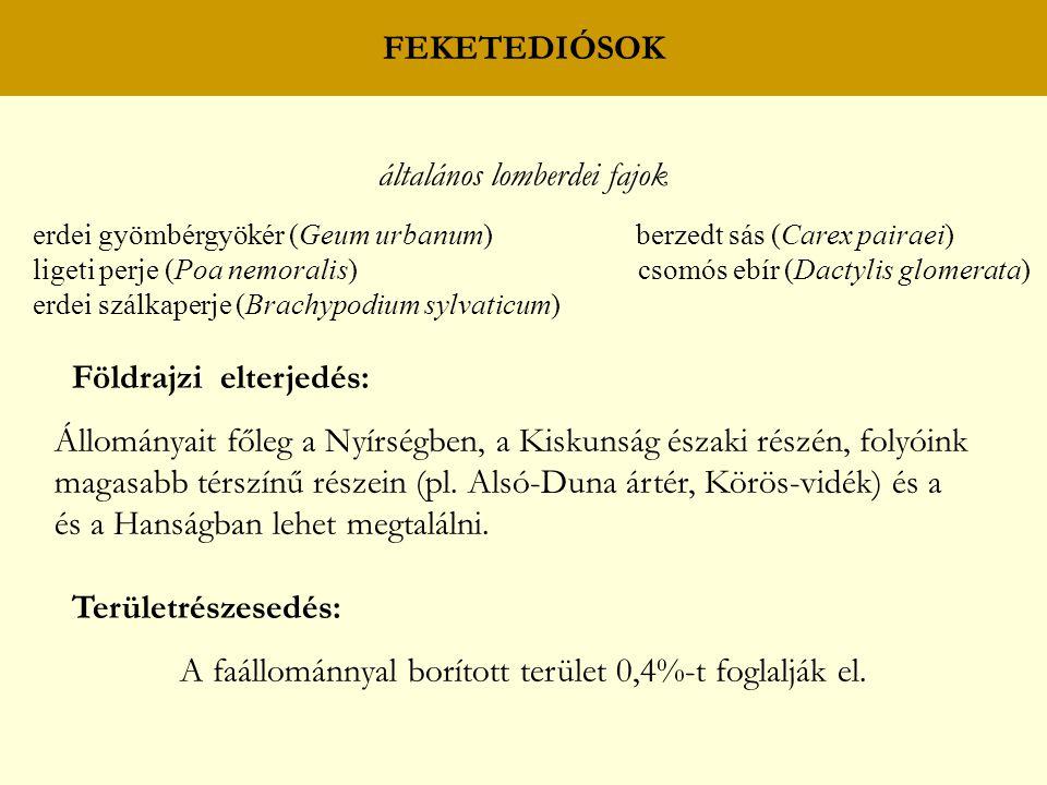 FEKETEDIÓSOK általános lomberdei fajok erdei gyömbérgyökér (Geum urbanum) berzedt sás (Carex pairaei) ligeti perje (Poa nemoralis) csomós ebír (Dactylis glomerata) erdei szálkaperje (Brachypodium sylvaticum) Földrajzi elterjedés: Állományait főleg a Nyírségben, a Kiskunság északi részén, folyóink magasabb térszínű részein (pl.