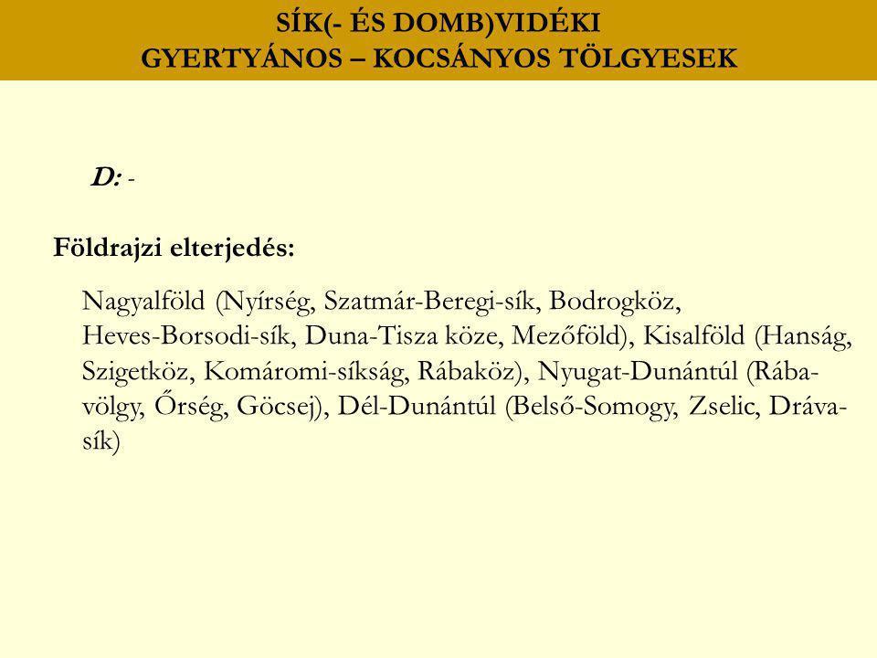 SÍK(- ÉS DOMB)VIDÉKI GYERTYÁNOS – KOCSÁNYOS TÖLGYESEK D: - Földrajzi elterjedés: Nagyalföld (Nyírség, Szatmár-Beregi-sík, Bodrogköz, Heves-Borsodi-sík