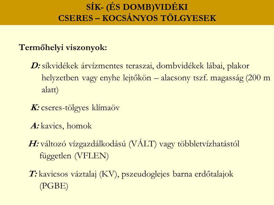 Termőhelyi viszonyok: D: síkvidékek árvízmentes teraszai, dombvidékek lábai, plakor helyzetben vagy enyhe lejtőkön – alacsony tszf. magasság (200 m al