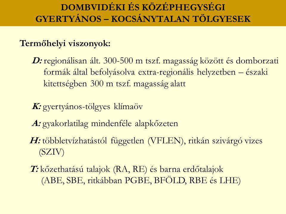 Termőhelyi viszonyok: D: regionálisan ált. 300-500 m tszf. magasság között és domborzati formák által befolyásolva extra-regionális helyzetben – észak