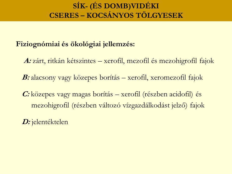 SÍK- (ÉS DOMB)VIDÉKI CSERES – KOCSÁNYOS TÖLGYESEK Fiziognómiai és ökológiai jellemzés: A: zárt, ritkán kétszintes – xerofil, mezofil és mezohigrofil f