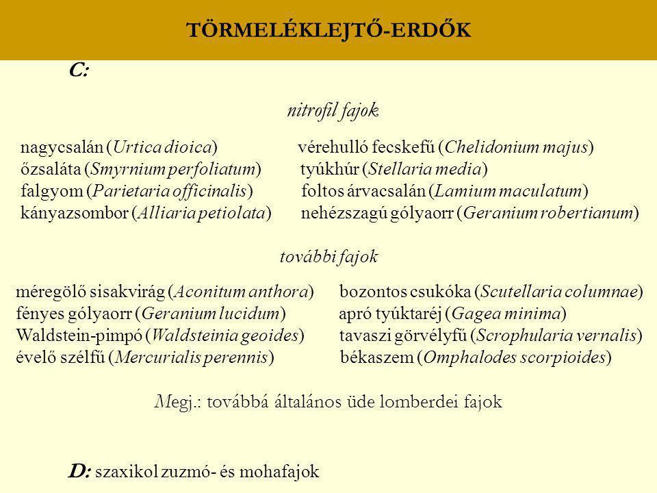 TÖRMELÉKLEJTŐ-ERDŐK C: nitrofil fajok nagycsalán (Urtica dioica) vérehulló fecskefű (Chelidonium majus) őzsaláta (Smyrnium perfoliatum) tyúkhúr (Stell