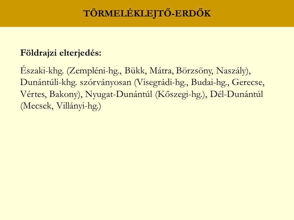 TÖRMELÉKLEJTŐ-ERDŐK Földrajzi elterjedés: Északi-khg. (Zempléni-hg., Bükk, Mátra, Börzsöny, Naszály), Dunántúli-khg. szórványosan (Visegrádi-hg., Buda