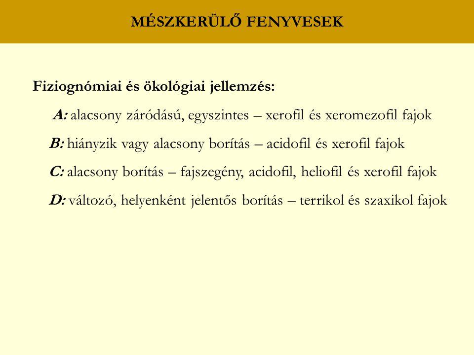 MÉSZKERÜLŐ FENYVESEK Fiziognómiai és ökológiai jellemzés: A: alacsony záródású, egyszintes – xerofil és xeromezofil fajok B: hiányzik vagy alacsony borítás – acidofil és xerofil fajok C: alacsony borítás – fajszegény, acidofil, heliofil és xerofil fajok D: változó, helyenként jelentős borítás – terrikol és szaxikol fajok
