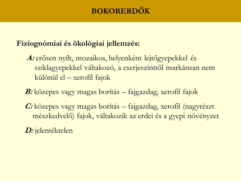 BOKORERDŐK Fiziognómiai és ökológiai jellemzés: A: erősen nyílt, mozaikos, helyenként lejtőgyepekkel és sziklagyepekkel váltakozó, a cserjeszinttől markánsan nem különül el – xerofil fajok B: közepes vagy magas borítás – fajgazdag, xerofil fajok C: közepes vagy magas borítás – fajgazdag, xerofil (nagyrészt mészkedvelő) fajok, váltakozik az erdei és a gyepi növényzet D: jelentéktelen