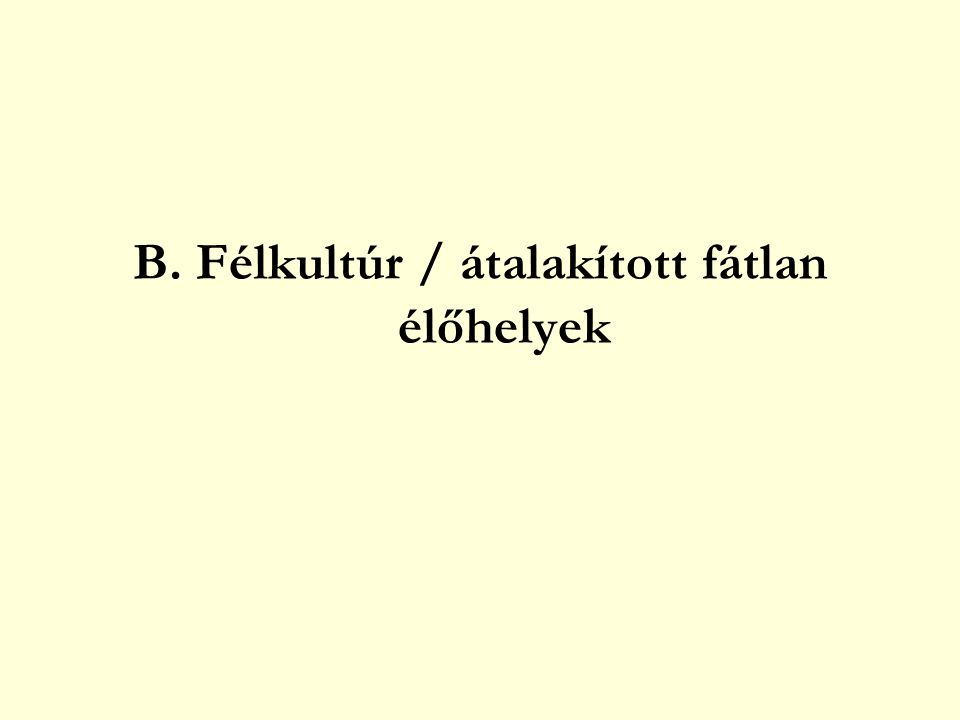 B. Félkultúr / átalakított fátlan élőhelyek