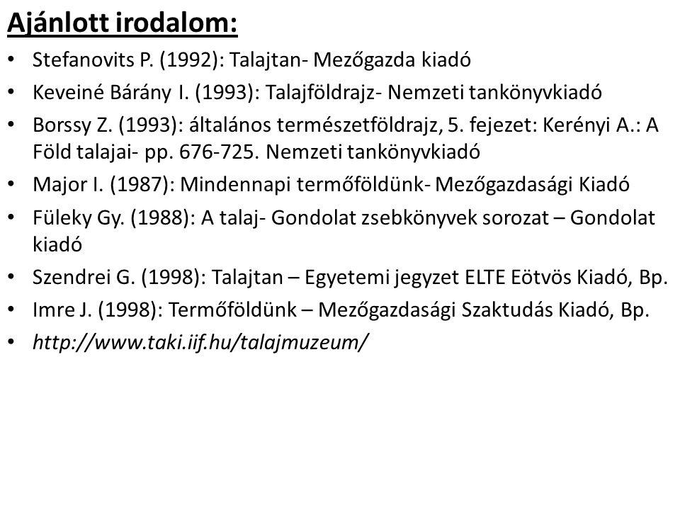 Ajánlott irodalom: Stefanovits P.(1992): Talajtan- Mezőgazda kiadó Keveiné Bárány I.