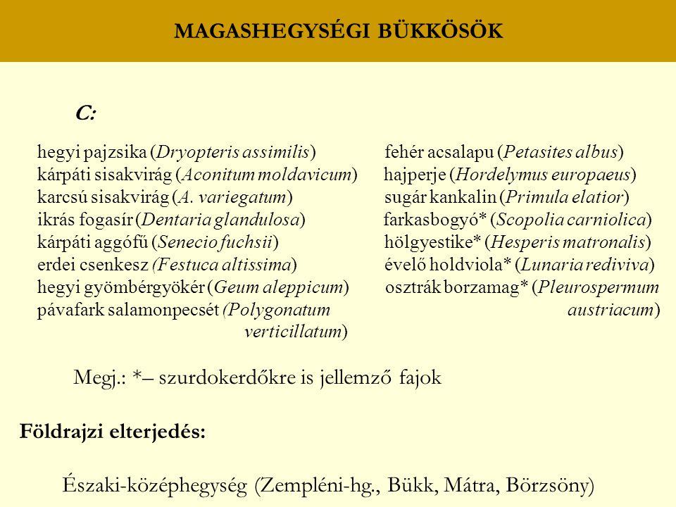 MAGASHEGYSÉGI BÜKKÖSÖK C: hegyi pajzsika (Dryopteris assimilis) fehér acsalapu (Petasites albus) kárpáti sisakvirág (Aconitum moldavicum) hajperje (Ho