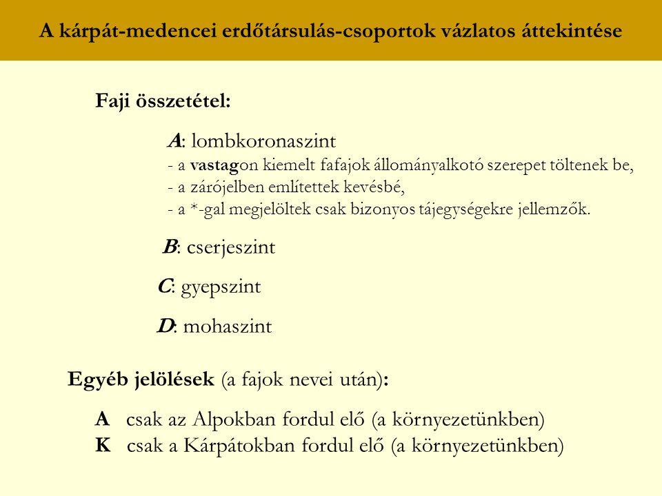 A kárpát-medencei erdőtársulás-csoportok vázlatos áttekintése Faji összetétel: A: lombkoronaszint - a vastagon kiemelt fafajok állományalkotó szerepet