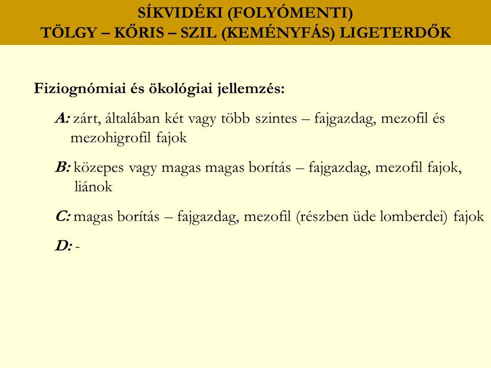SÍKVIDÉKI (FOLYÓMENTI) TÖLGY – KŐRIS – SZIL (KEMÉNYFÁS) LIGETERDŐK Fiziognómiai és ökológiai jellemzés: A: zárt, általában két vagy több szintes – faj