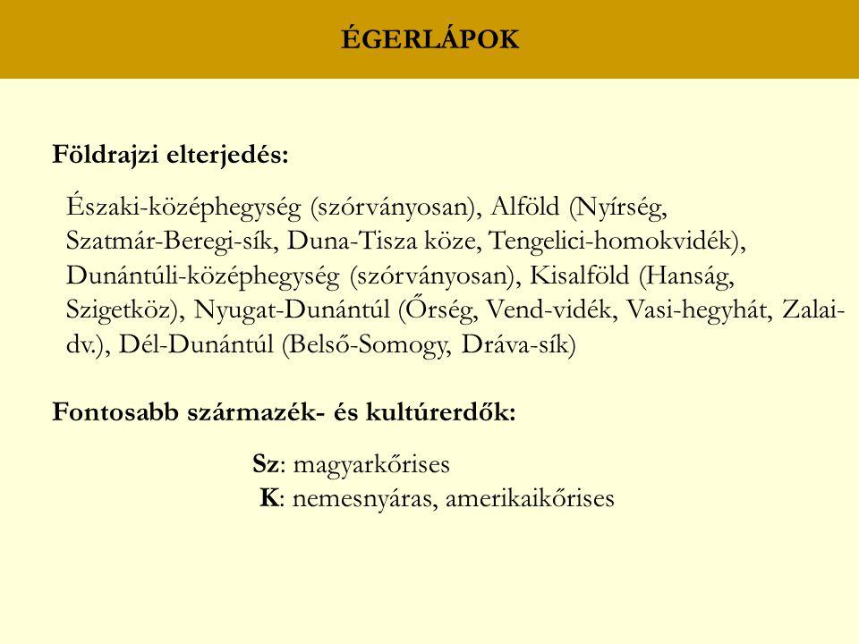 ÉGERLÁPOK Földrajzi elterjedés: Északi-középhegység (szórványosan), Alföld (Nyírség, Szatmár-Beregi-sík, Duna-Tisza köze, Tengelici-homokvidék), Dunán