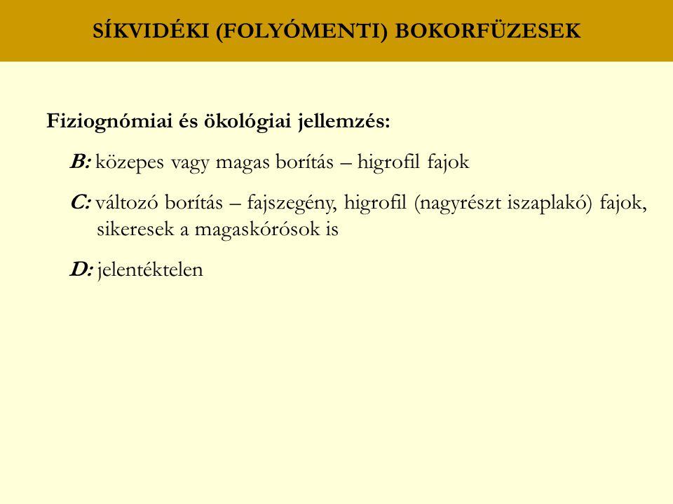 SÍKVIDÉKI (FOLYÓMENTI) FŰZ – NYÁR (PUHAFÁS) LIGETERDŐK C: magaskórósok fodros bogáncs (Carduus crispus) közönséges lizinka (Lysimachia vulgaris) sédkender (Eupatorium cannabinum) peszércék (Lycopus spp.) nagycsalán (Urtica dioica) lóromok (Rumex spp.) sások – füvek éles sás (Carex gracilis) mocsári perje (Poa palustris) parti sás (C.