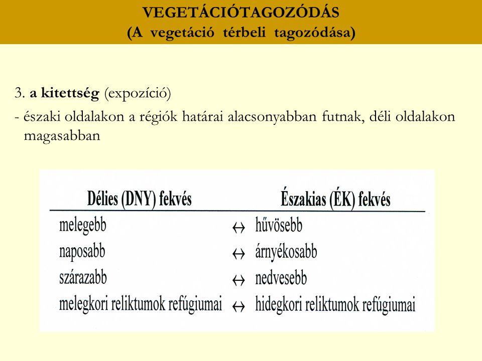VEGETÁCIÓTAGOZÓDÁS (A vegetáció térbeli tagozódása) 3. a kitettség (expozíció) - északi oldalakon a régiók határai alacsonyabban futnak, déli oldalako