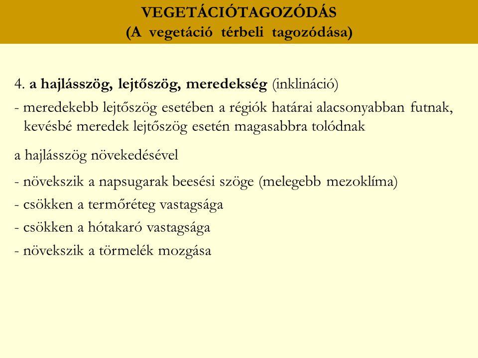 VEGETÁCIÓTAGOZÓDÁS (A vegetáció térbeli tagozódása) 4. a hajlásszög, lejtőszög, meredekség (inklináció) - meredekebb lejtőszög esetében a régiók határ