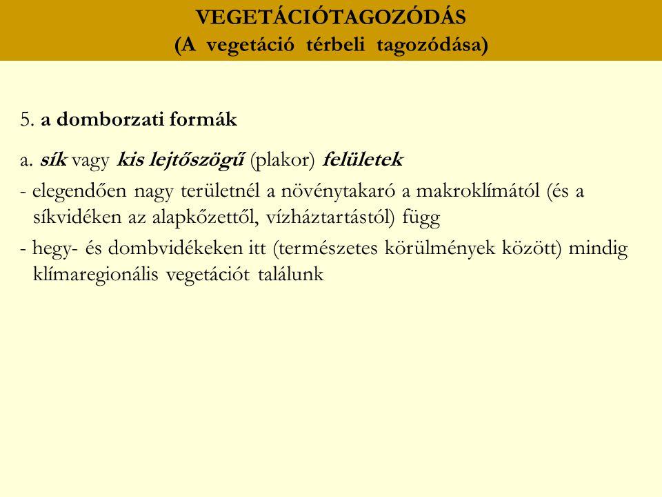 VEGETÁCIÓTAGOZÓDÁS (A vegetáció térbeli tagozódása) 5. a domborzati formák a. sík vagy kis lejtőszögű (plakor) felületek - elegendően nagy területnél