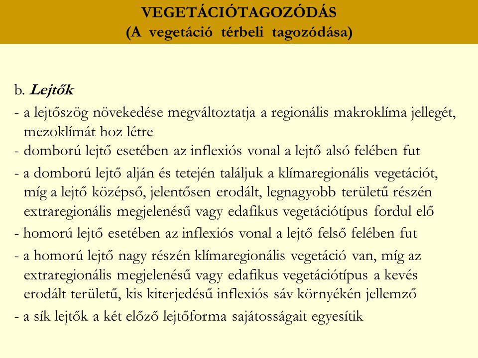 VEGETÁCIÓTAGOZÓDÁS (A vegetáció térbeli tagozódása) b. Lejtők -a lejtőszög növekedése megváltoztatja a regionális makroklíma jellegét, mezoklímát hoz