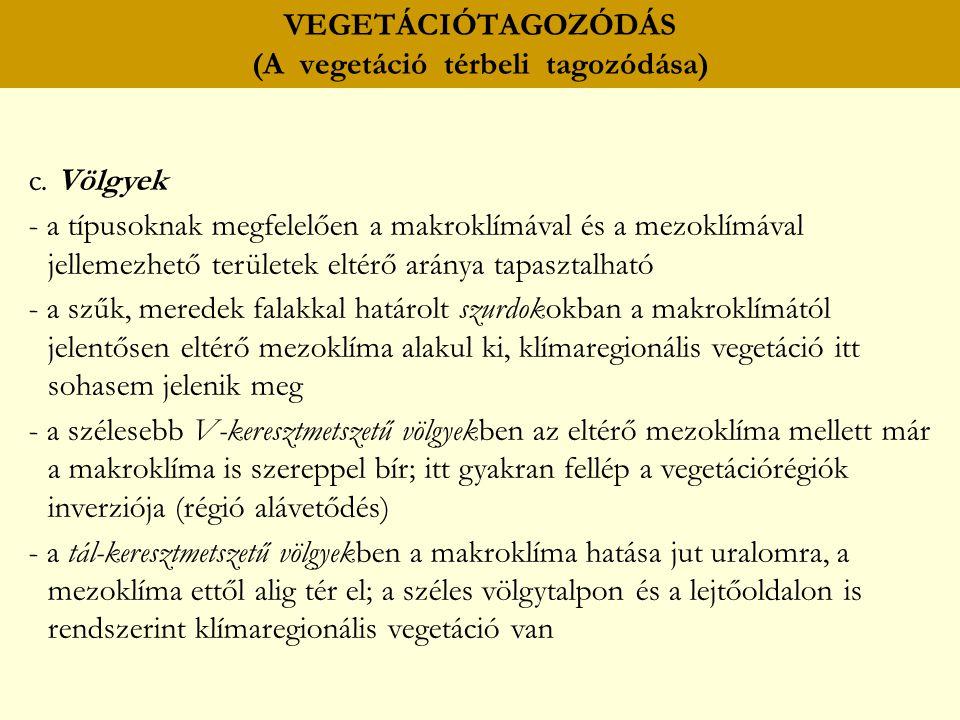 VEGETÁCIÓTAGOZÓDÁS (A vegetáció térbeli tagozódása) c. Völgyek - a típusoknak megfelelően a makroklímával és a mezoklímával jellemezhető területek elt