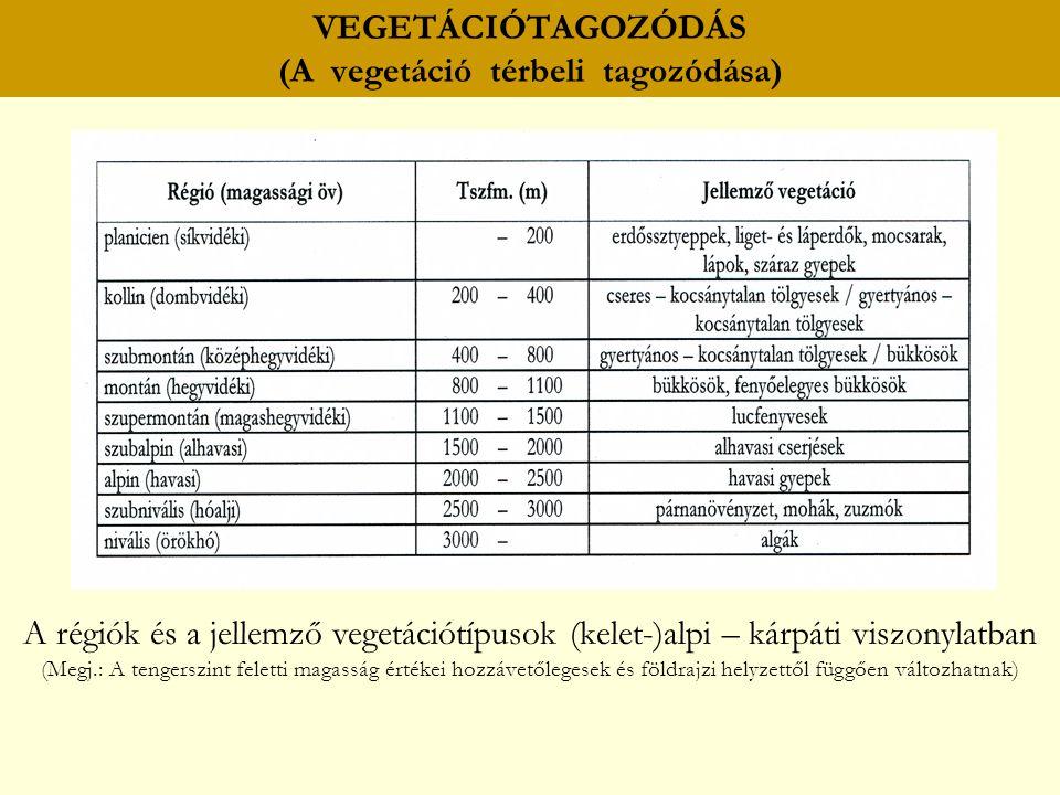 A régiók és a jellemző vegetációtípusok (kelet-)alpi – kárpáti viszonylatban (Megj.: A tengerszint feletti magasság értékei hozzávetőlegesek és földra