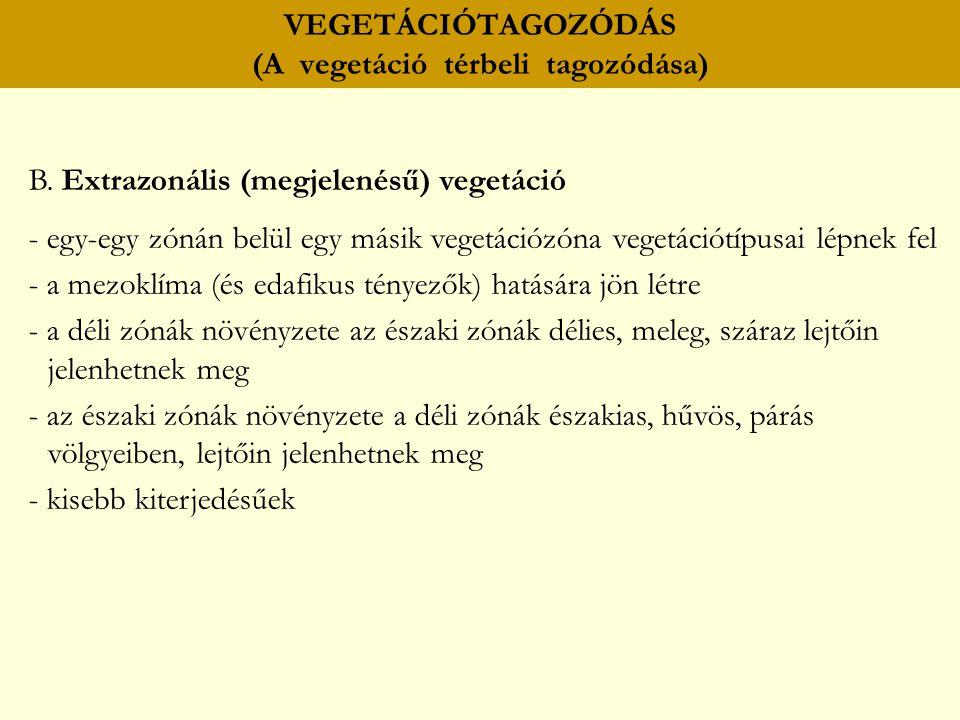 VEGETÁCIÓTAGOZÓDÁS (A vegetáció térbeli tagozódása) B. Extrazonális (megjelenésű) vegetáció - egy-egy zónán belül egy másik vegetációzóna vegetációtíp