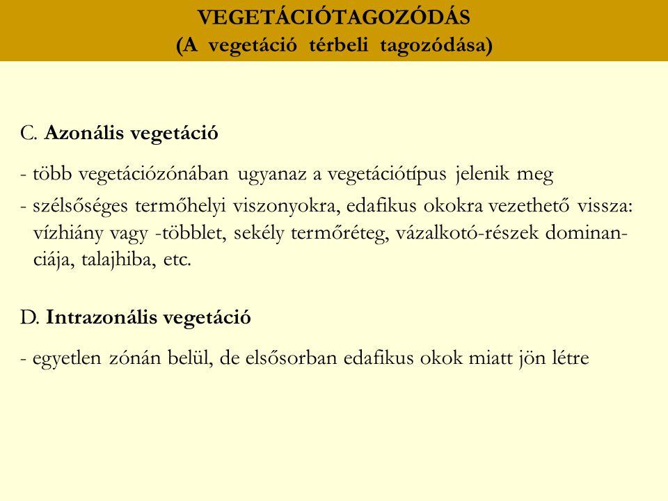 VEGETÁCIÓTAGOZÓDÁS (A vegetáció térbeli tagozódása) C. Azonális vegetáció - több vegetációzónában ugyanaz a vegetációtípus jelenik meg - szélsőséges t