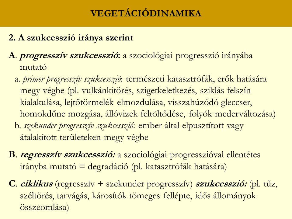 VEGETÁCIÓDINAMIKA 2. A szukcesszió iránya szerint A. progresszív szukcesszió: a szociológiai progresszió irányába mutató a. primer progresszív szukces