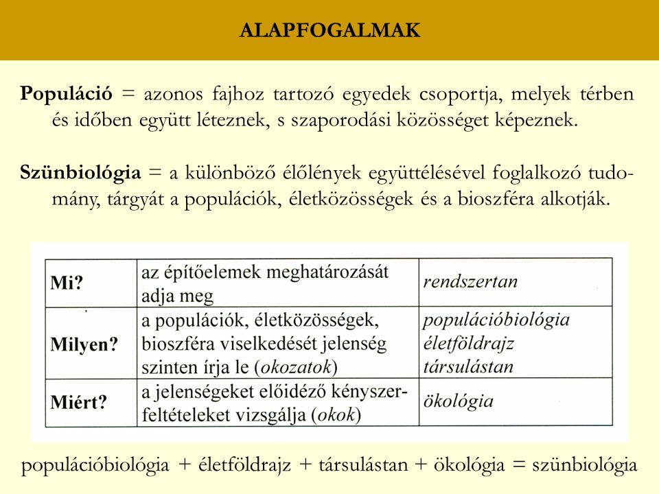 ALAPFOGALMAK Populáció = azonos fajhoz tartozó egyedek csoportja, melyek térben és időben együtt léteznek, s szaporodási közösséget képeznek. Szünbiol