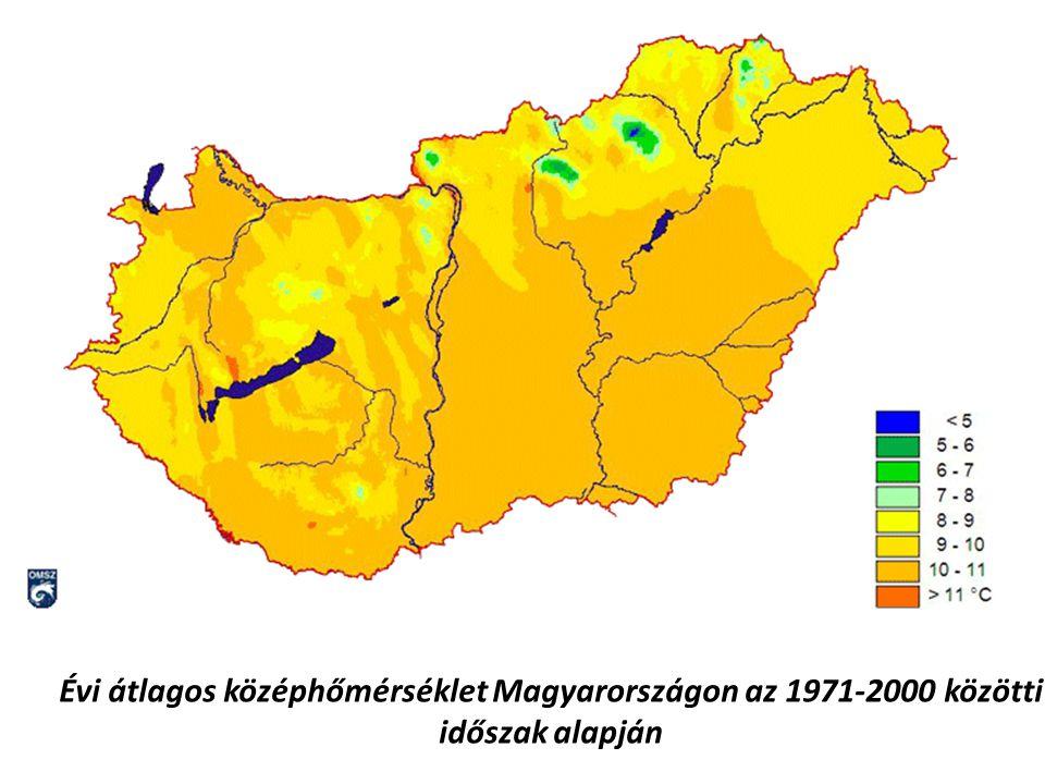 Évi átlagos középhőmérséklet Magyarországon az 1971-2000 közötti időszak alapján