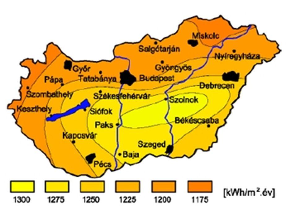 A felhőborítottság átlagos havi értékei Magyarországon az 1971-2000 közötti időszak alapján A globálsugárzás átlagos havi értékei Magyarországon az 1998-2009 közötti időszak alapján A felhőborítottság átlagos havi értékei Magyarországon az 1971-2000 közötti időszak alapján