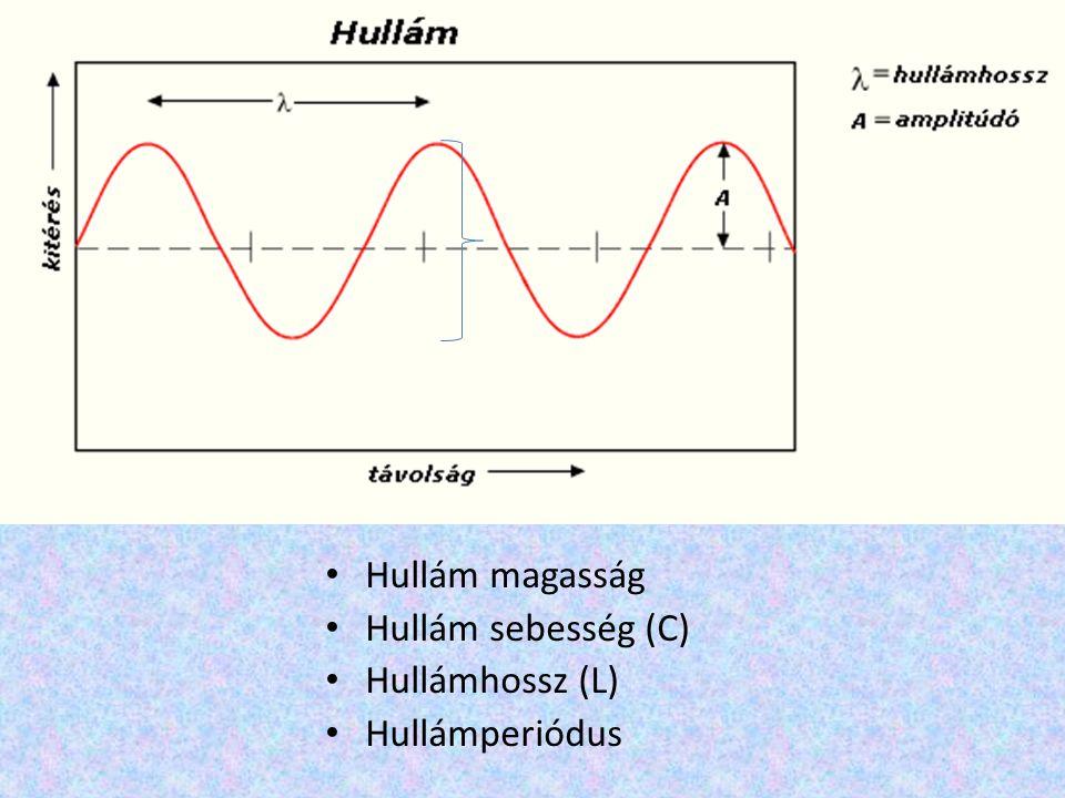 Hullám magasság Hullám sebesség (C) Hullámhossz (L) Hullámperiódus