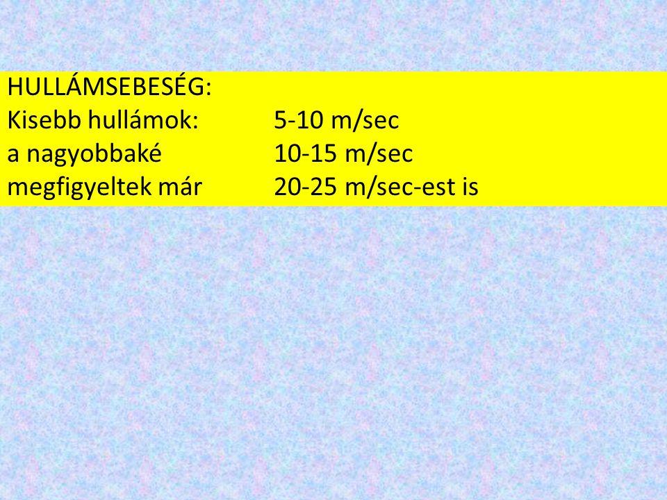 HULLÁMSEBESÉG: Kisebb hullámok: 5-10 m/sec a nagyobbaké10-15 m/sec megfigyeltek már 20-25 m/sec-est is