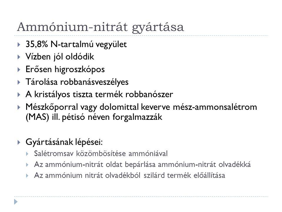 Ammónium-nitrát gyártása  35,8% N-tartalmú vegyület  Vízben jól oldódik  Erősen higroszkópos  Tárolása robbanásveszélyes  A kristályos tiszta ter