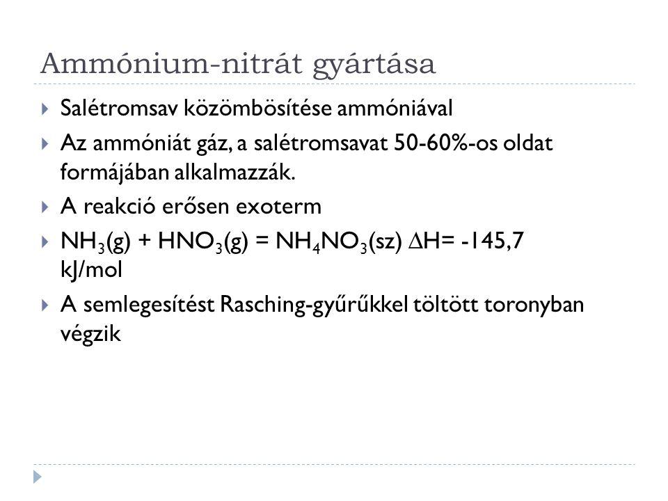 Ammónium-nitrát gyártása  Salétromsav közömbösítése ammóniával  Az ammóniát gáz, a salétromsavat 50-60%-os oldat formájában alkalmazzák.  A reakció