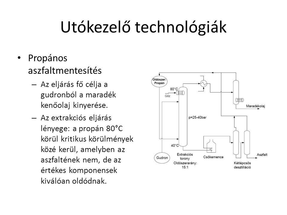 Utókezelő technológiák Propános aszfaltmentesítés – Az eljárás fő célja a gudronból a maradék kenőolaj kinyerése. – Az extrakciós eljárás lényege: a p