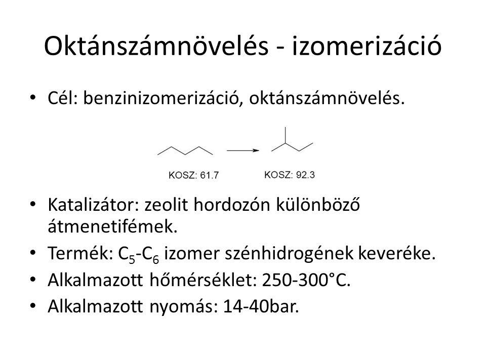 Oktánszámnövelés - izomerizáció Cél: benzinizomerizáció, oktánszámnövelés. Katalizátor: zeolit hordozón különböző átmenetifémek. Termék: C 5 -C 6 izom