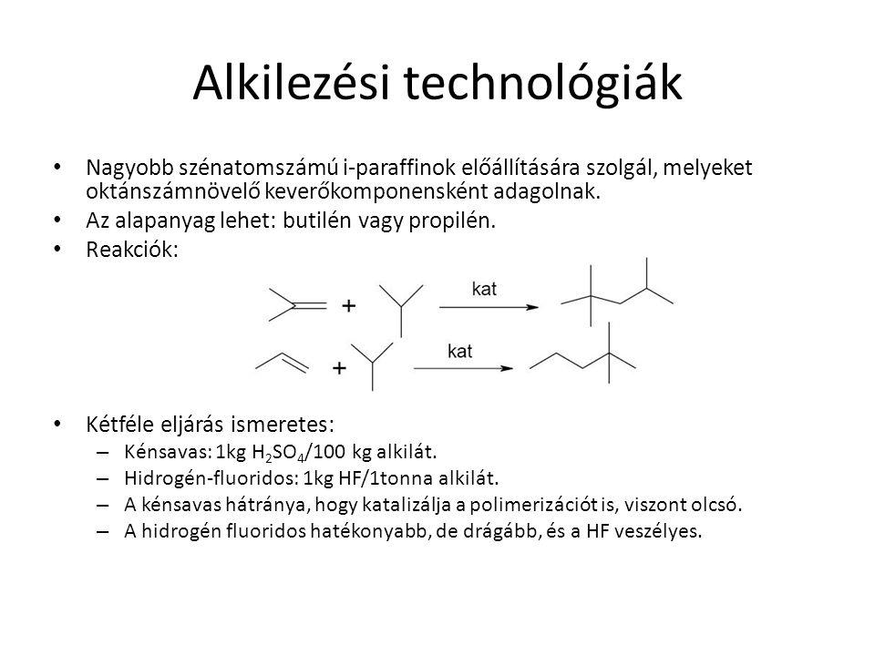 Alkilezési technológiák Nagyobb szénatomszámú i-paraffinok előállítására szolgál, melyeket oktánszámnövelő keverőkomponensként adagolnak. Az alapanyag