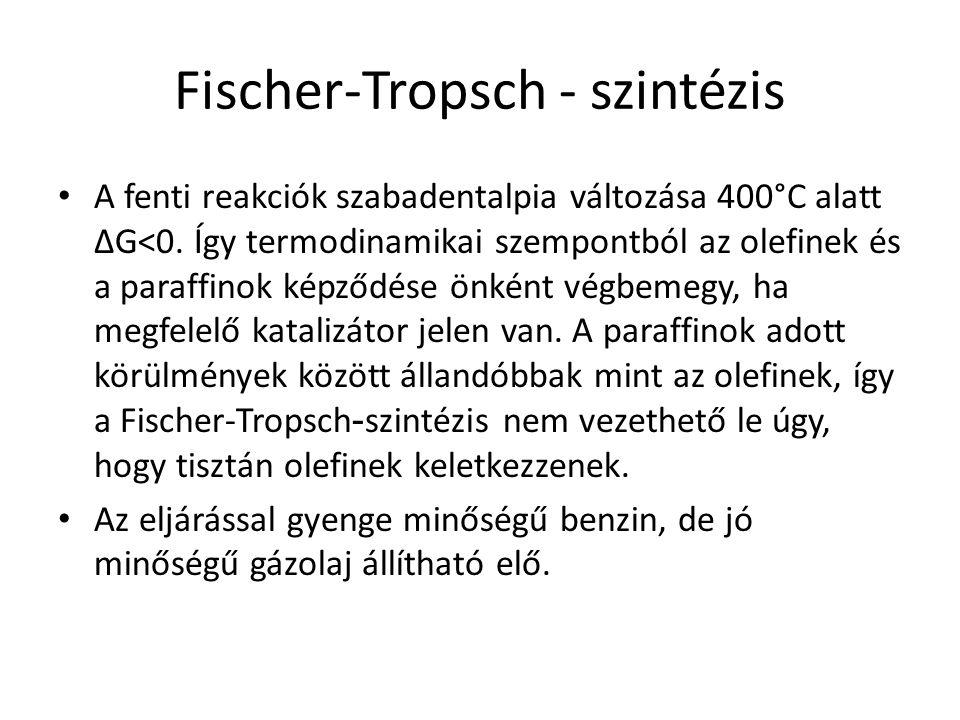 Fischer-Tropsch - szintézis A fenti reakciók szabadentalpia változása 400°C alatt ΔG<0. Így termodinamikai szempontból az olefinek és a paraffinok kép