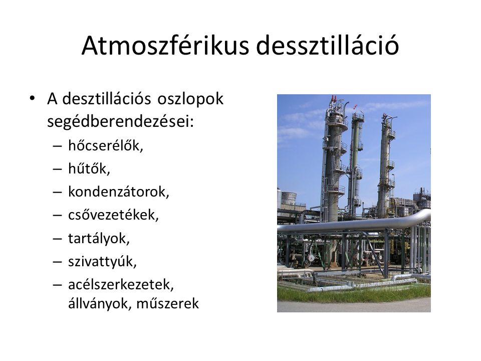 Atmoszférikus dessztilláció A desztillációs oszlopok segédberendezései: – hőcserélők, – hűtők, – kondenzátorok, – csővezetékek, – tartályok, – szivatt