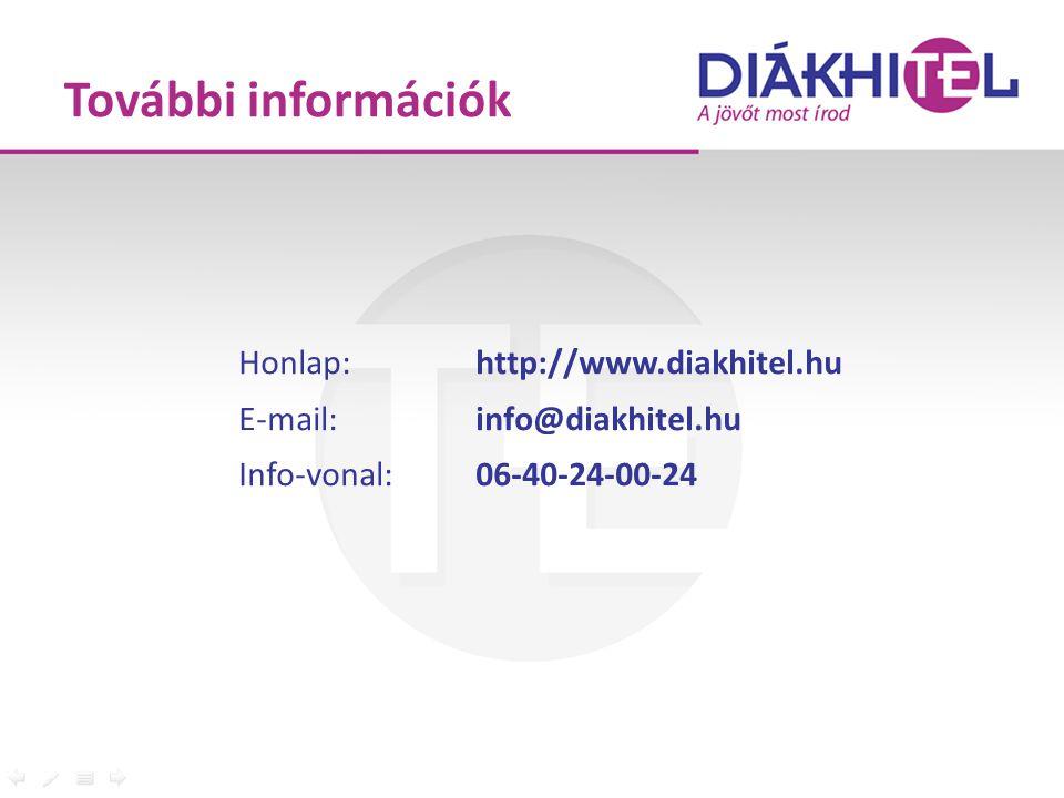 Honlap: http://www.diakhitel.hu E-mail: info@diakhitel.hu Info-vonal: 06-40-24-00-24 További információk