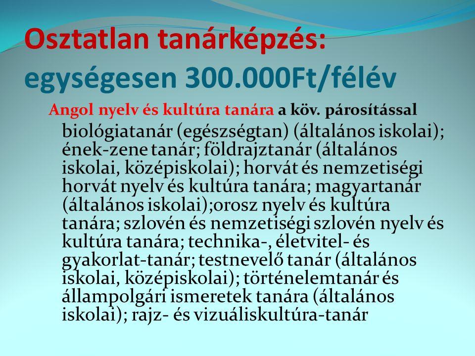 Osztatlan tanárképzés: egységesen 300.000Ft/félév Angol nyelv és kultúra tanára a köv. párosítással biológiatanár (egészségtan) (általános iskolai); é