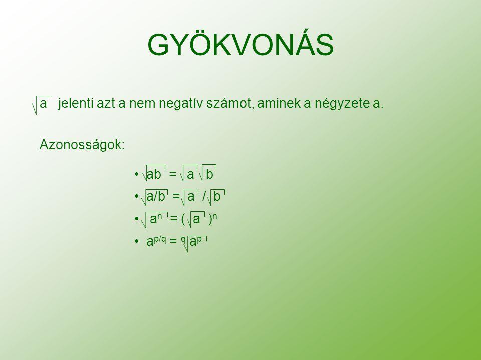 GYÖKVONÁS a jelenti azt a nem negatív számot, aminek a négyzete a. Azonosságok: ab = a b a/b = a / b a n = ( a ) n a p/q = q a p