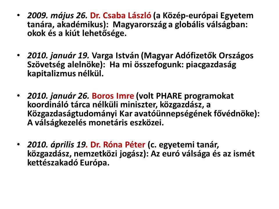 2009. május 26. Dr. Csaba László (a Közép-európai Egyetem tanára, akadémikus): Magyarország a globális válságban: okok és a kiút lehetősége. 2010. jan